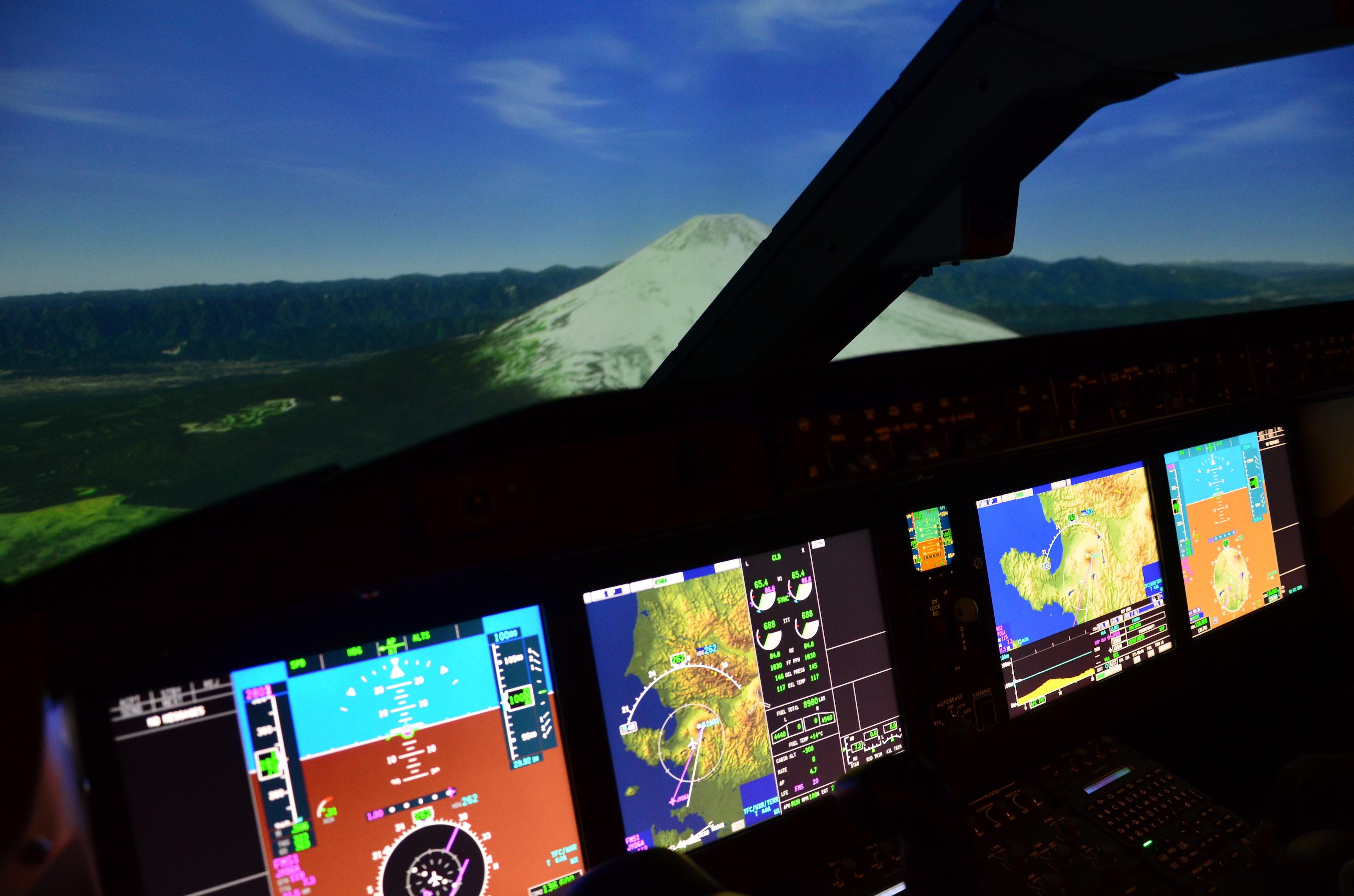 A view of Japan's Mt. Fuji from the virtual flight deck of Mitsubishi's M90 SpaceJet simulator.