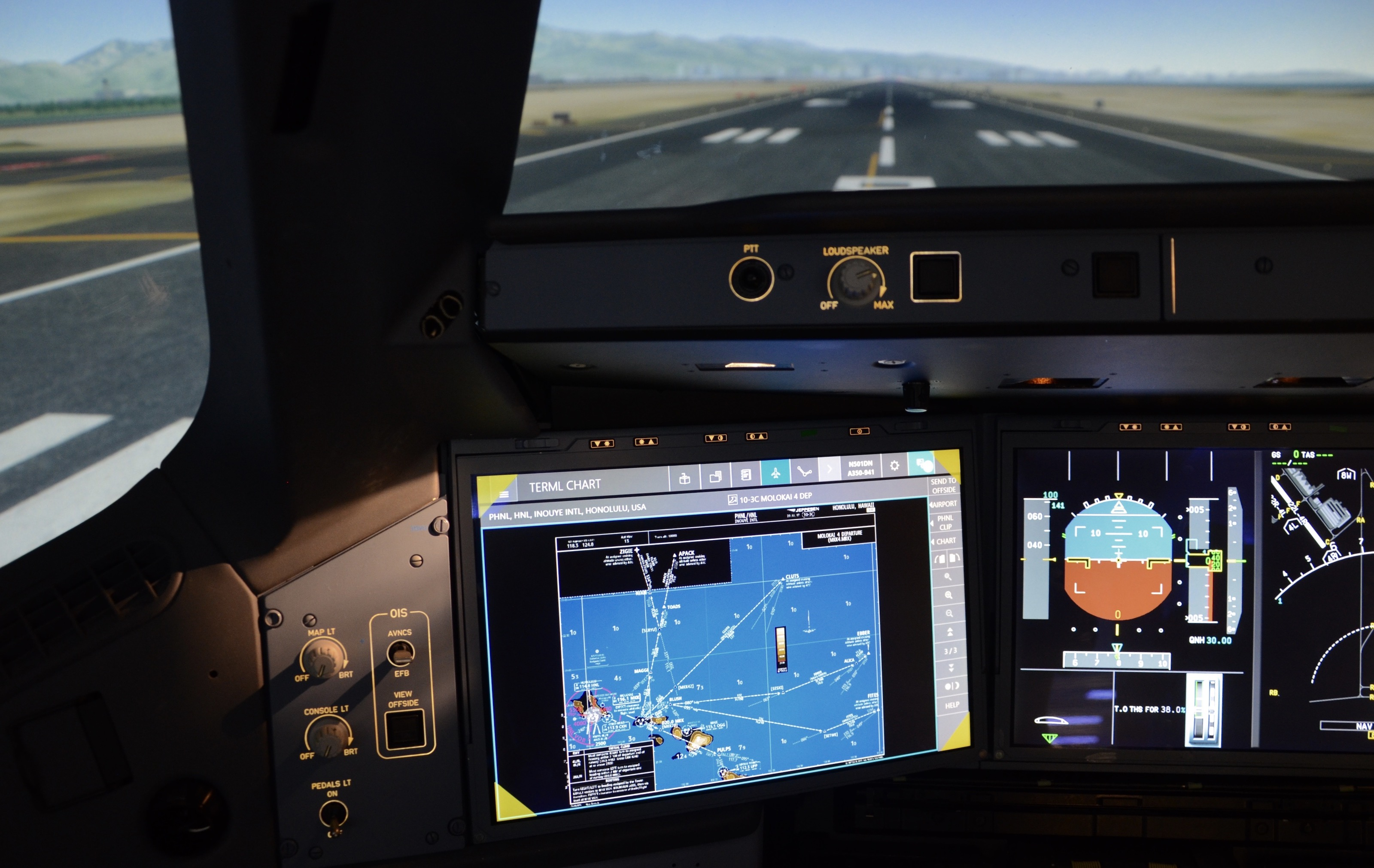 A Delta Air Lines Airbus A350 simulator is positioned for takeoff from Honolulu Airport in 2017.