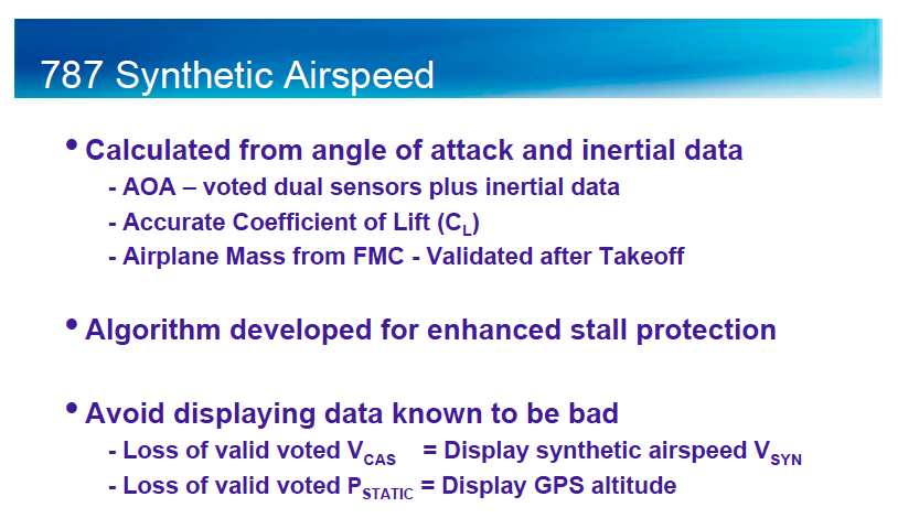 A Boeing description of synthetic airspeed system on the 787 Dreamliner.