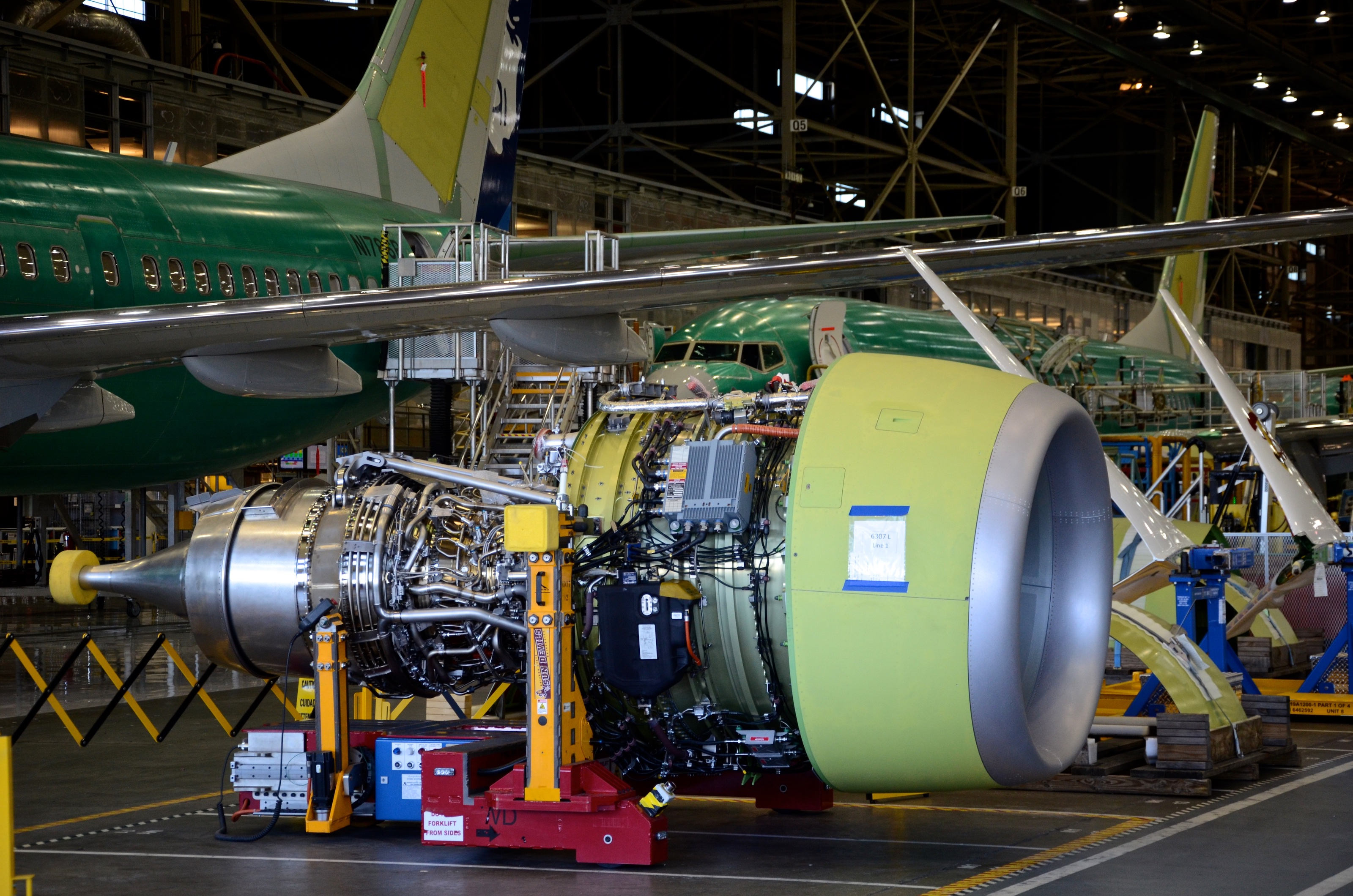 A CFM56-7B engine on Boeing's 737 final assembly line in Renton, Wash.
