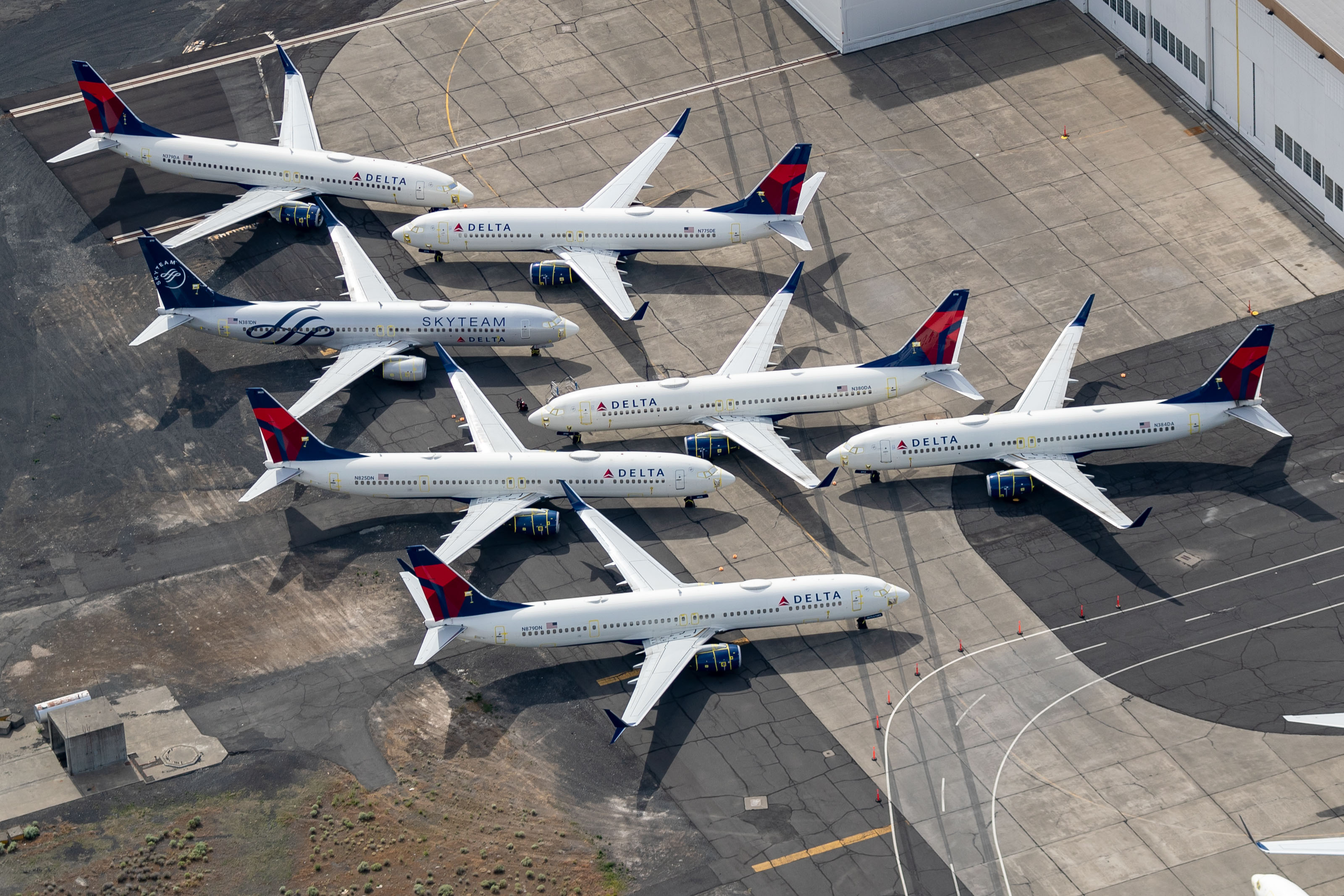 Delta Air Lines Boeing 737s are stored at Grant County Airport in Moses Lake, Wash. as airlines ride out the COVID-19 pandemic.