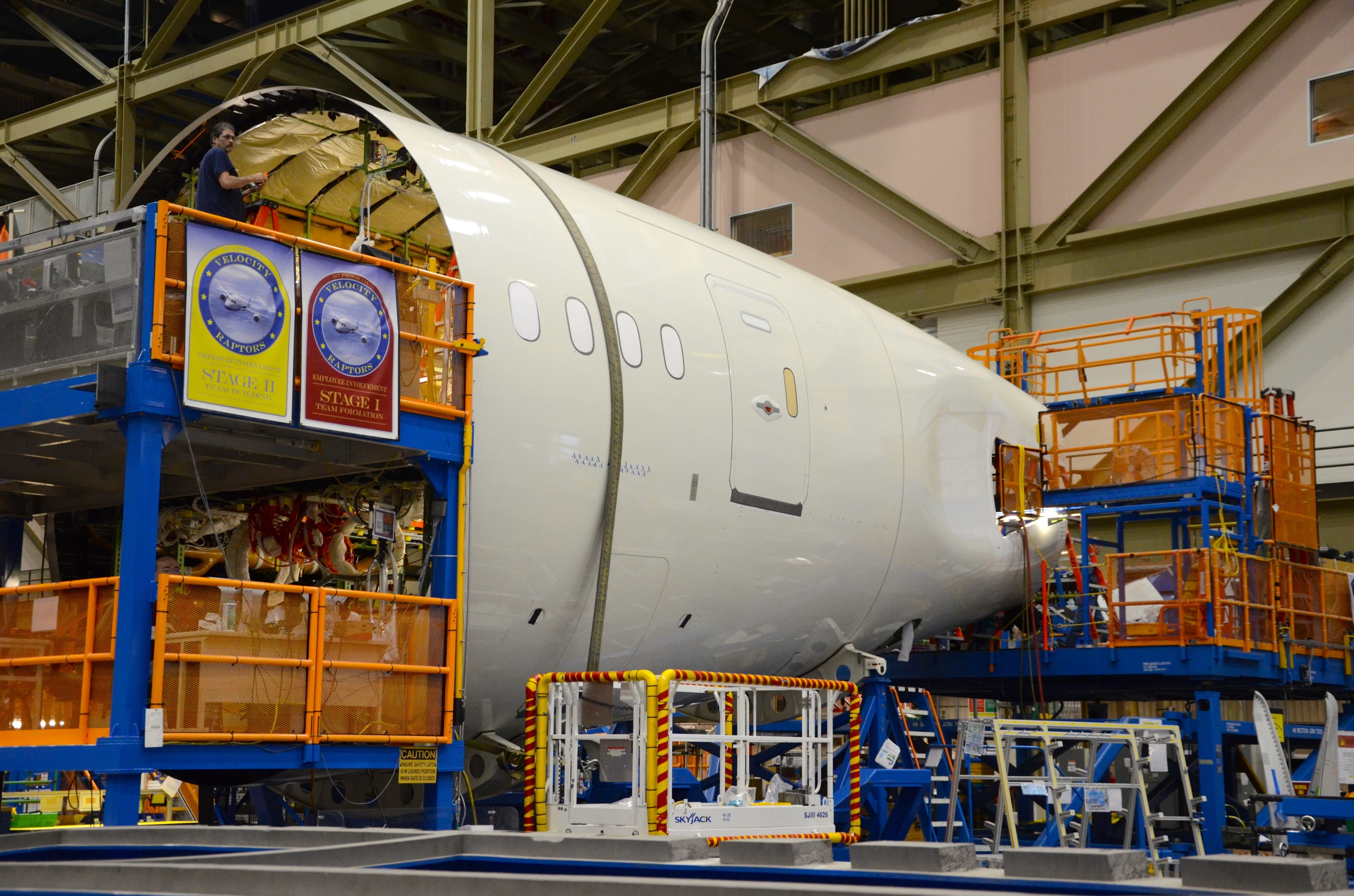 The aft fuselage of the first Boeing 787-9 in final assembly in Everett, Wash. in June 2013.