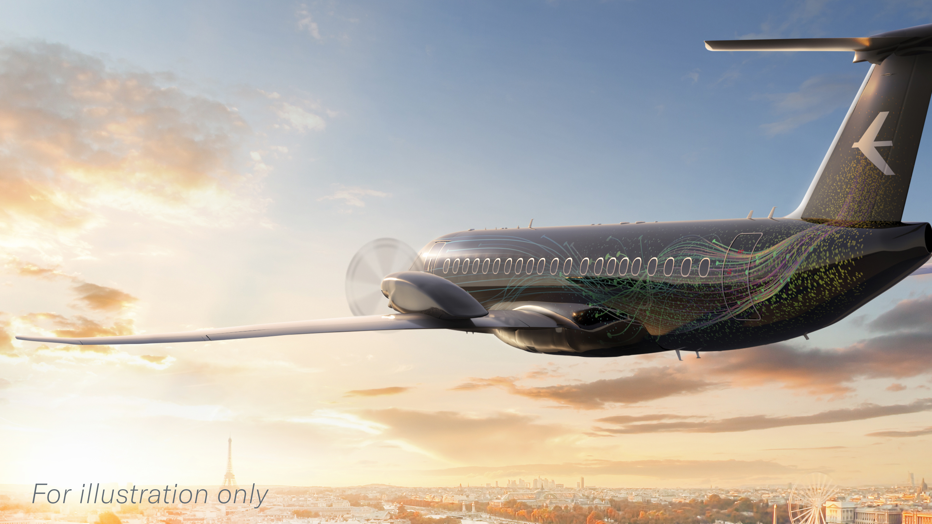 A rendering of the Embraer turboprop concept flying toward a sunrise over Paris, the site of the upcoming 2021 summer air show.