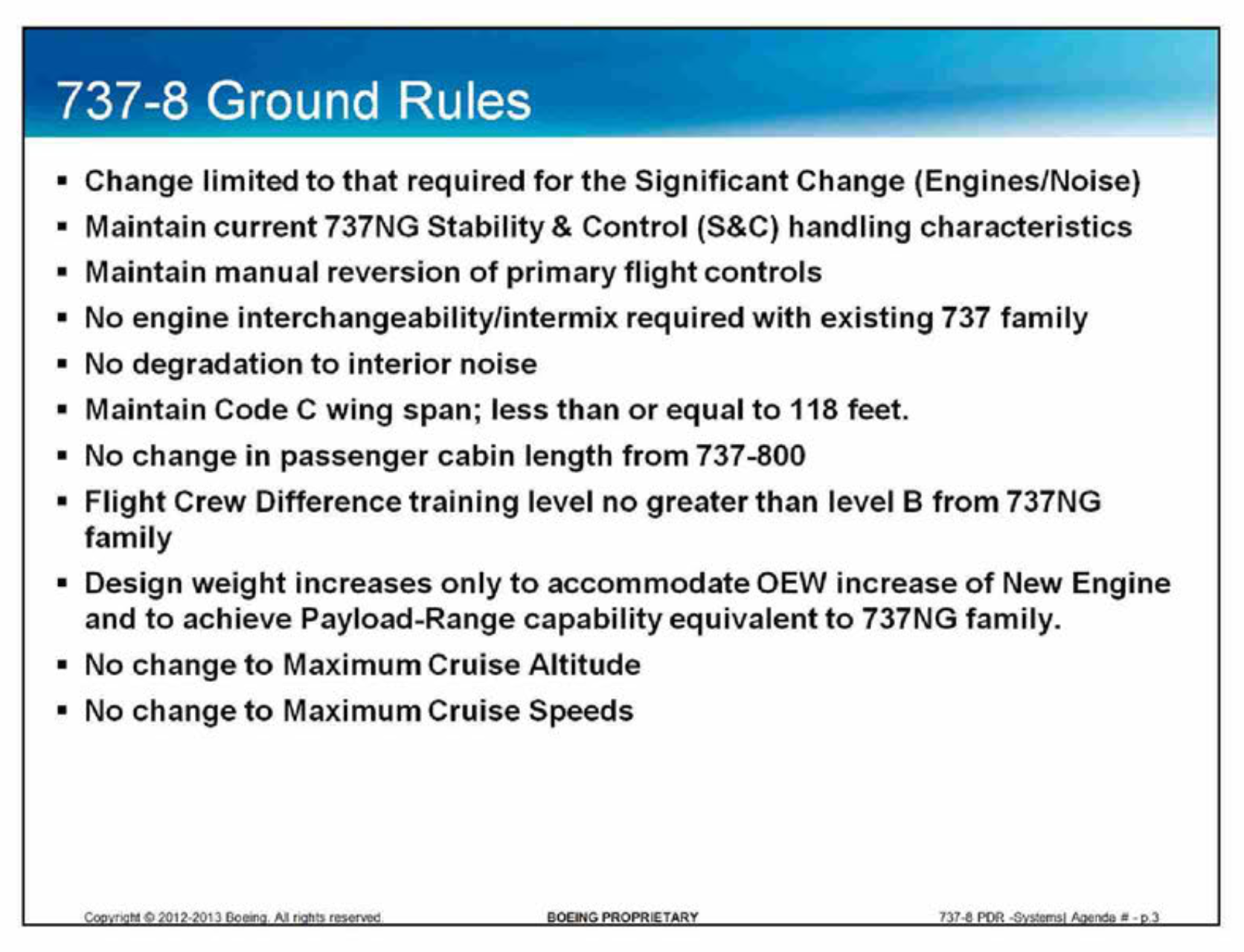 Boeing outlined the key program directives for the 737 Max program to Southwest Airlines in a 2013 presentation.