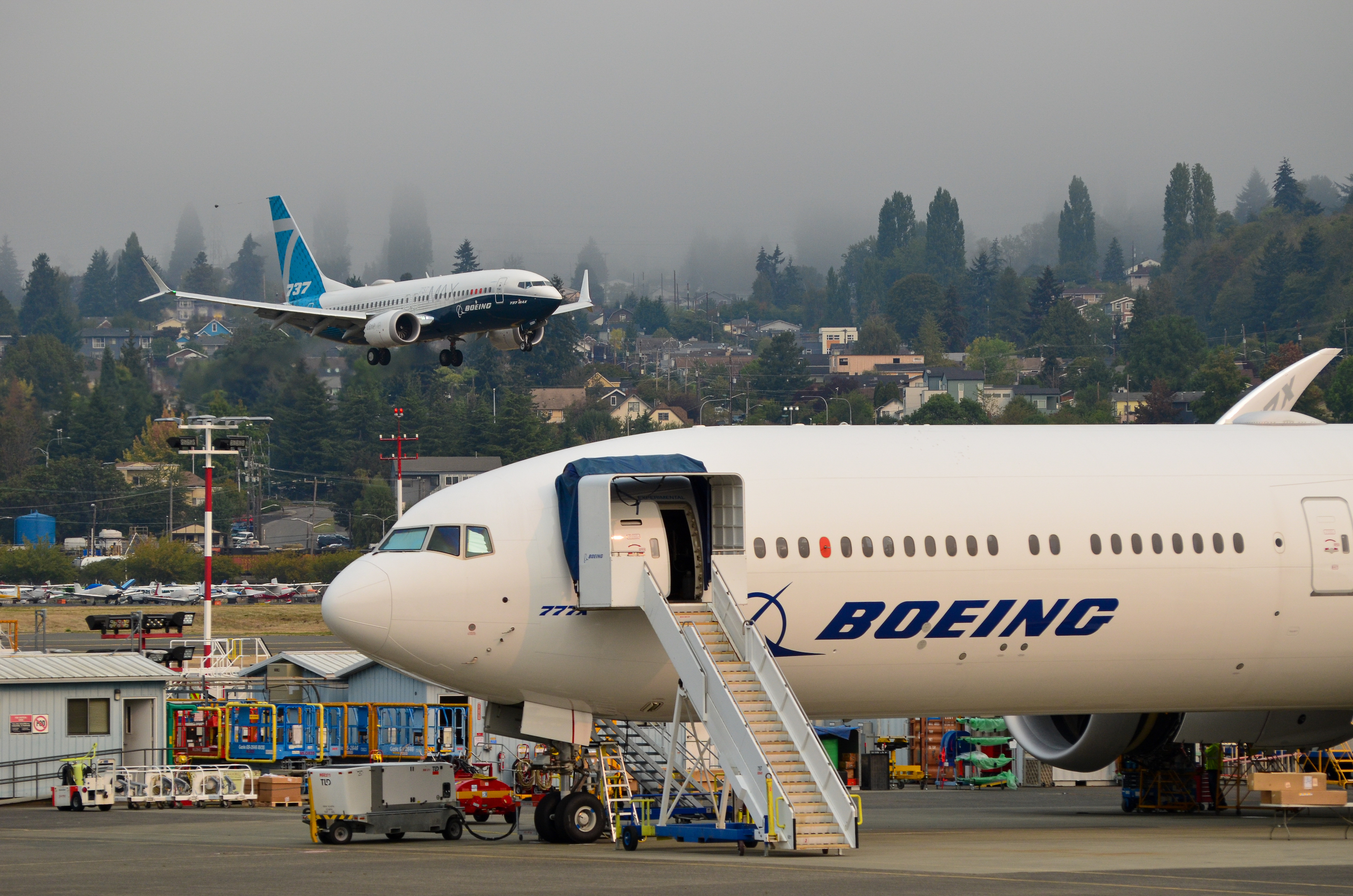 A Boeing 737 Max 7 piloted by FAA Administrator Steve Dickson lands at Boeing Field in Seattle, Wash. following a demonstration test flight for the U.S. aviation regulator in September 2020.