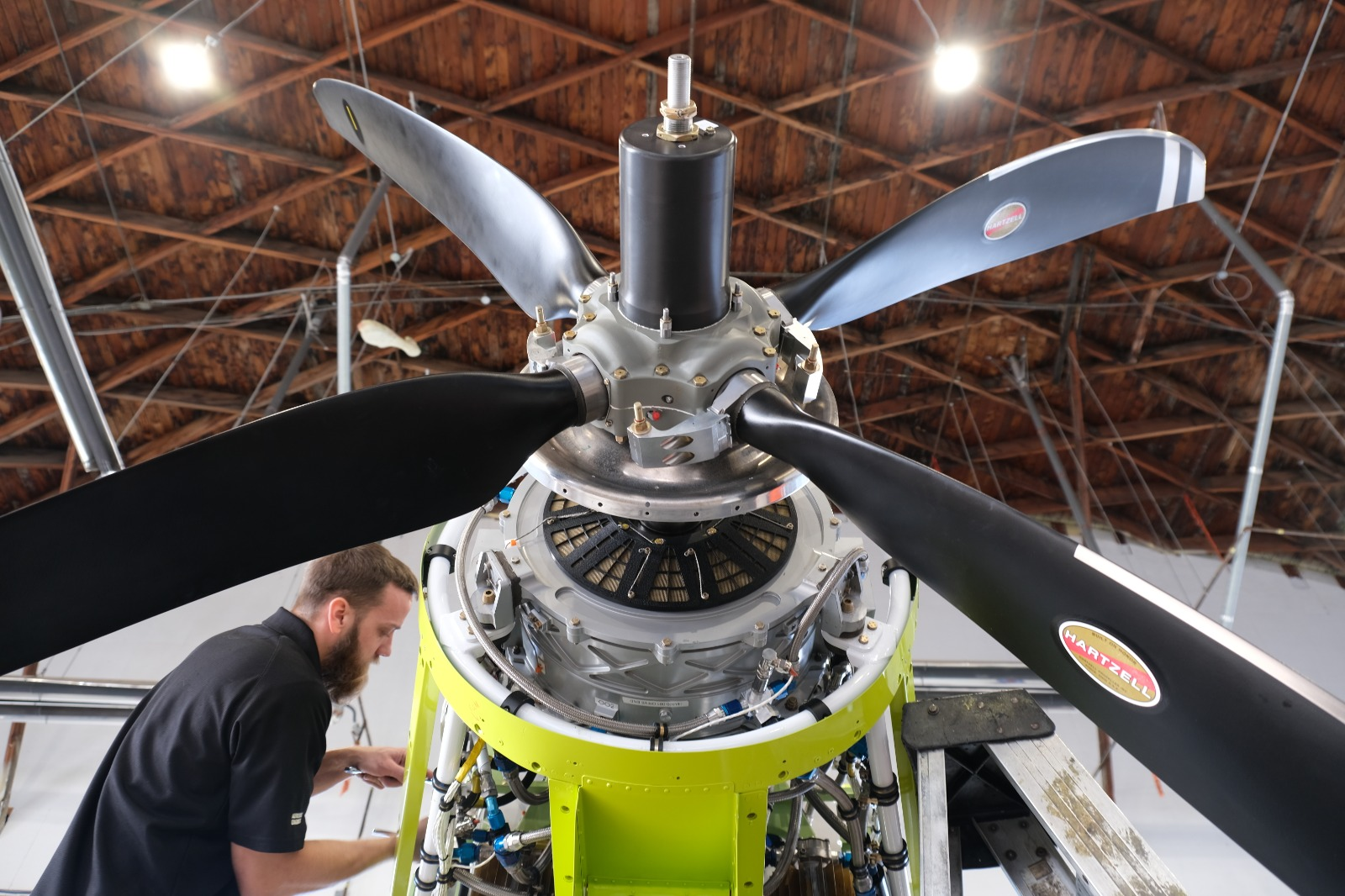 MagniX engineers prepare Harbour Air's MagniX-powered de Havilland Canada DHC-2 Beaver for its first flight in December 2019.