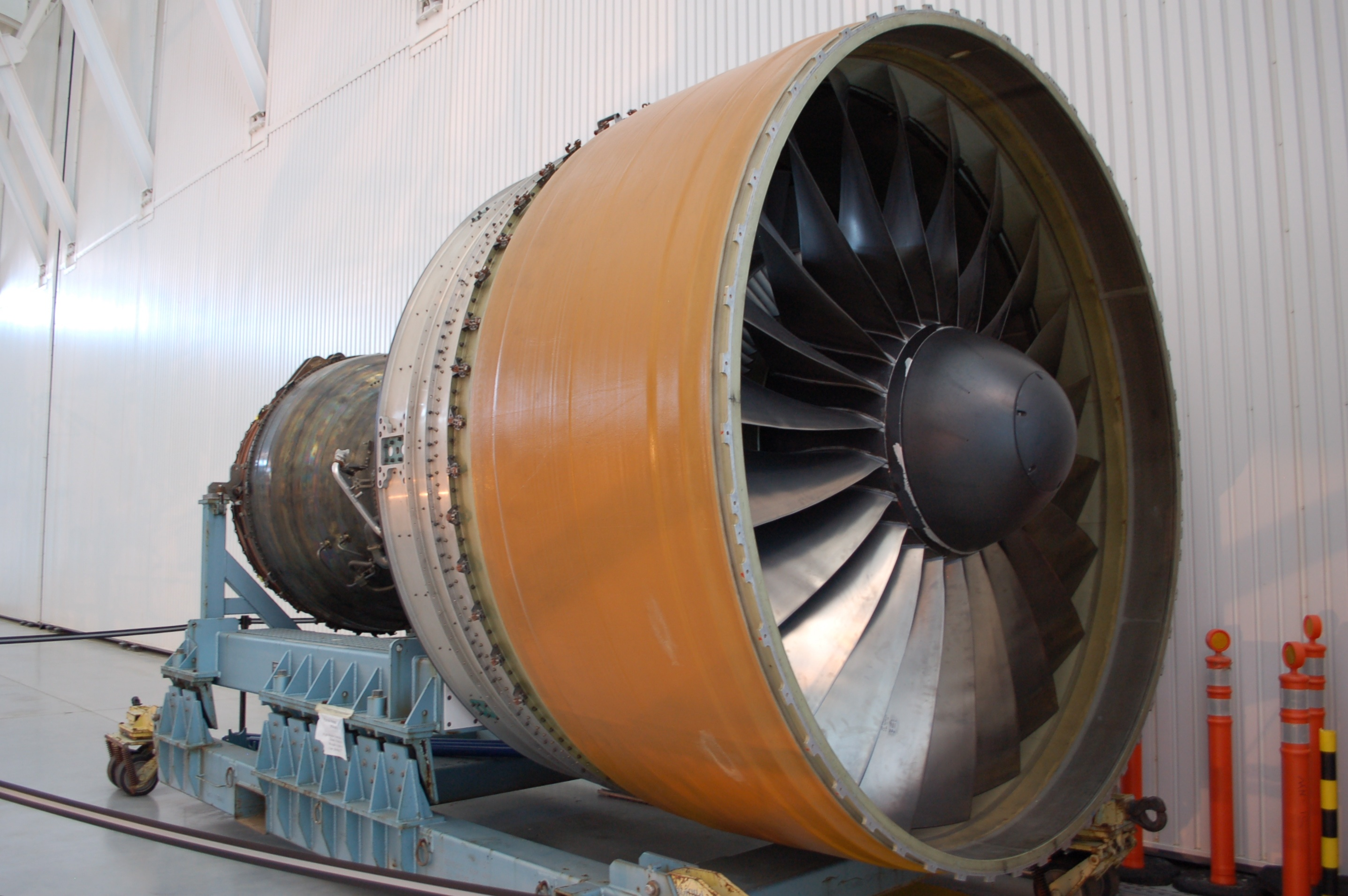A Pratt & Whitney PW4000 engine for the Boeing 777 sits at the National Air & Space Museum's Udvar-Hazy Center in Virginia.